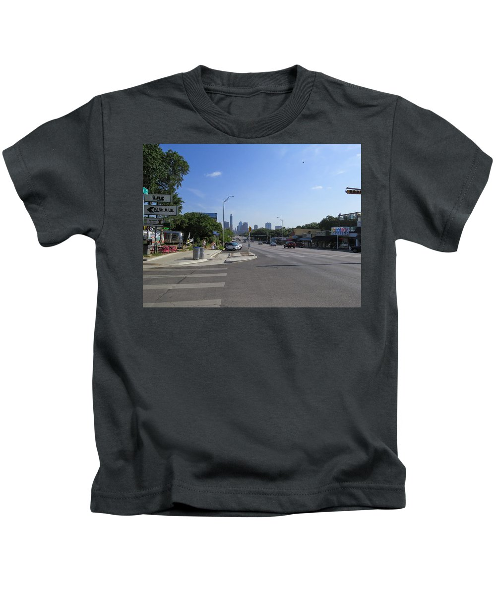 Texas Kids T-Shirt featuring the photograph Austin Texas Congress Street View by JG Thompson