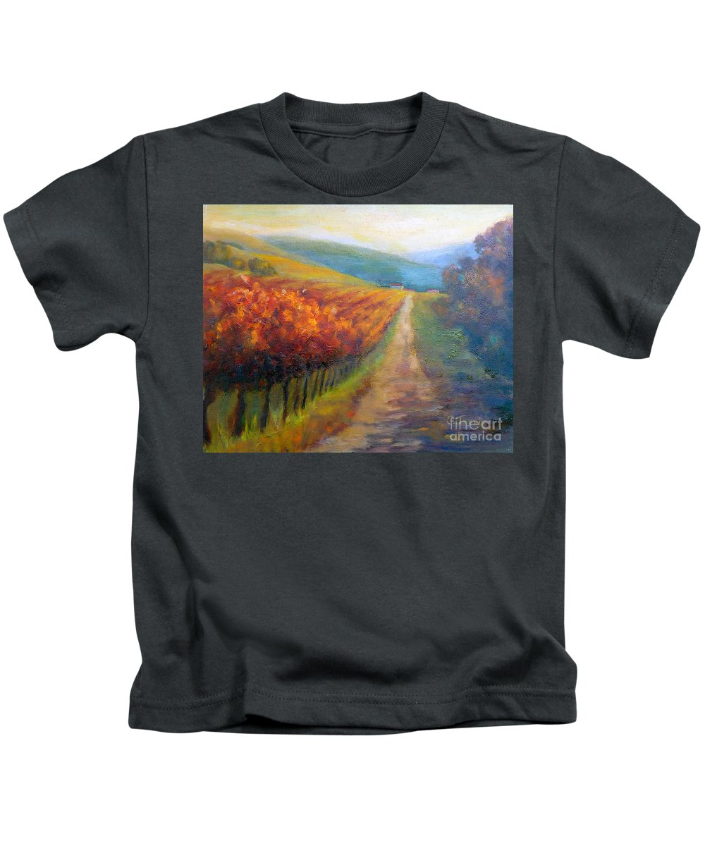 Santa Rosa Kids T-Shirt featuring the painting Autumn In The Vineyard by Carolyn Jarvis