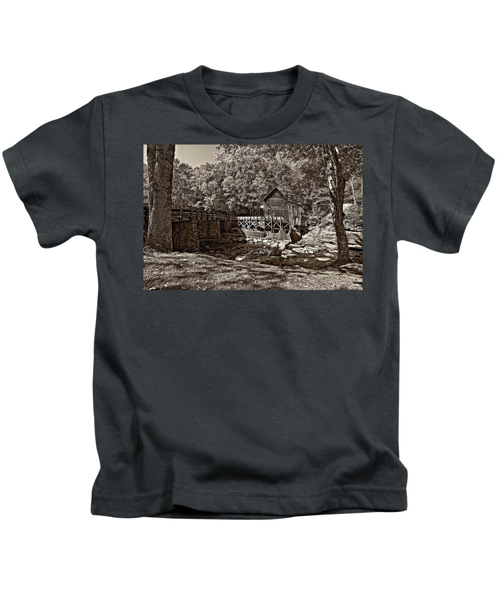 West Virginia Kids T-Shirt featuring the photograph Autumn Mill Sepia by Steve Harrington