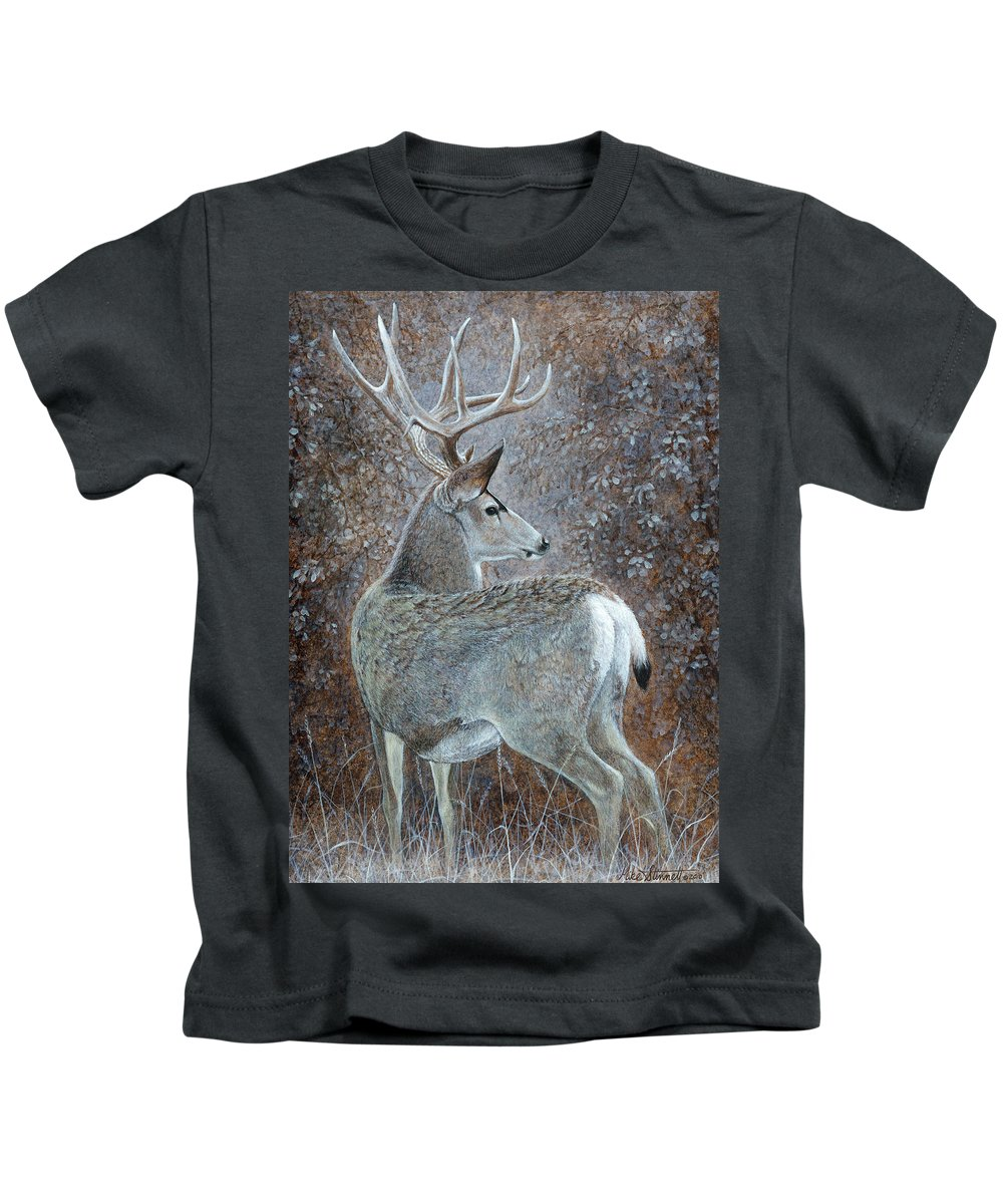 Mule Deer Kids T-Shirt featuring the painting Autumn Muley by Mike Stinnett