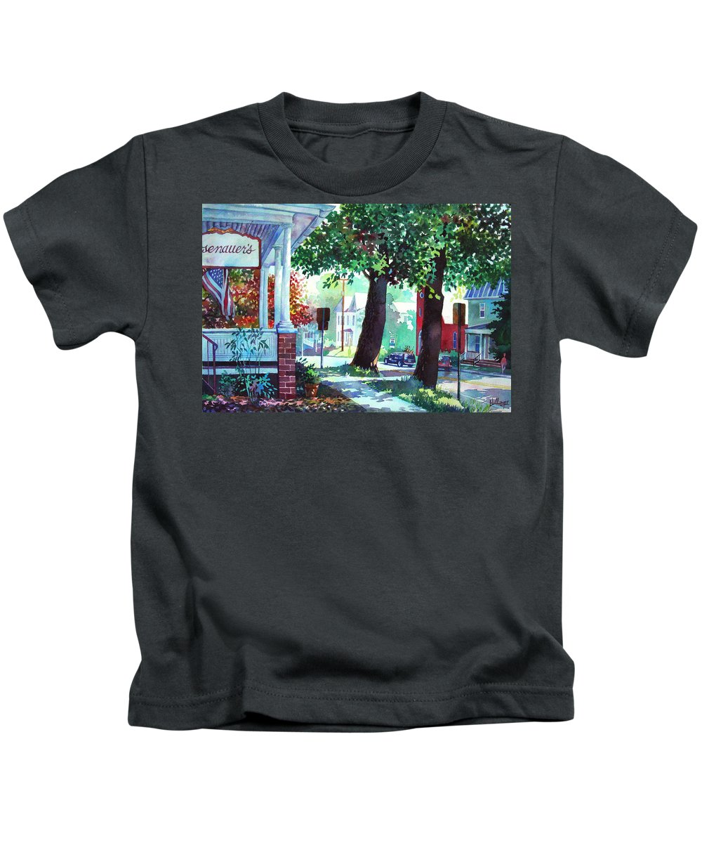 Watercolor Kids T-Shirt featuring the painting Autumn On East Main by Mick Williams