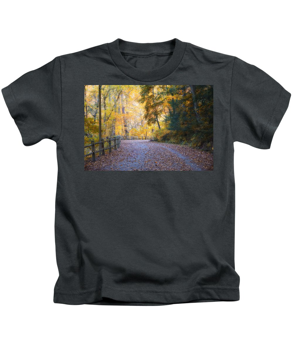 Autumn Kids T-Shirt featuring the photograph Autumn On Forbidden Drive by Bill Cannon