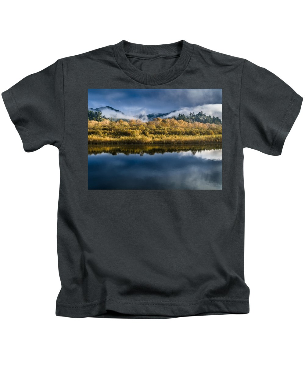 Fog Kids T-Shirt featuring the photograph Autumn On The Klamath 7 by Greg Nyquist