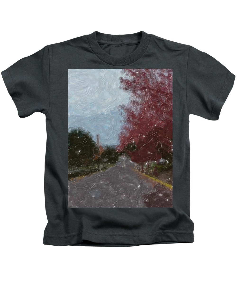 Autumn Kids T-Shirt featuring the painting Autumn Road by Sergey Bezhinets
