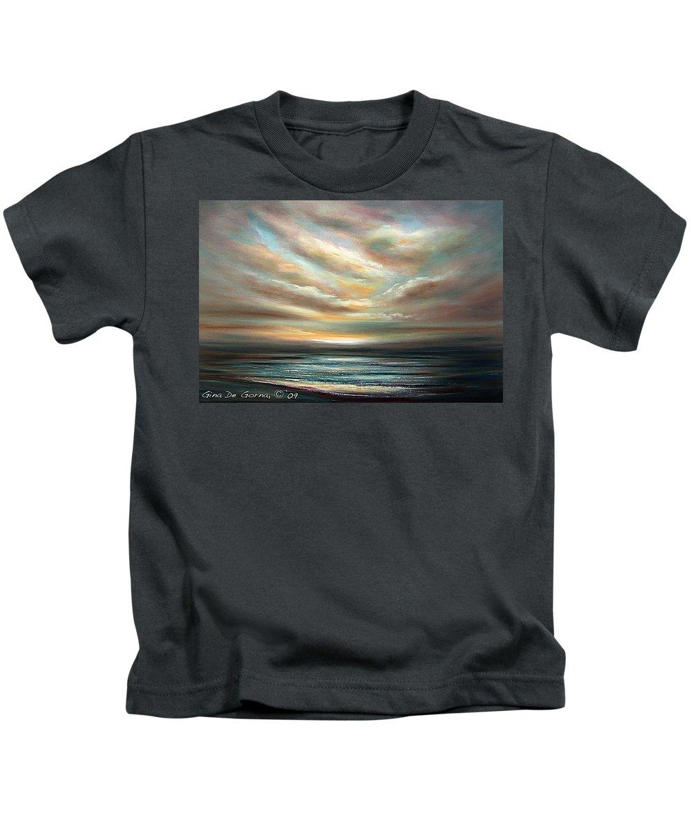 Sunset Kids T-Shirt featuring the painting Away by Gina De Gorna