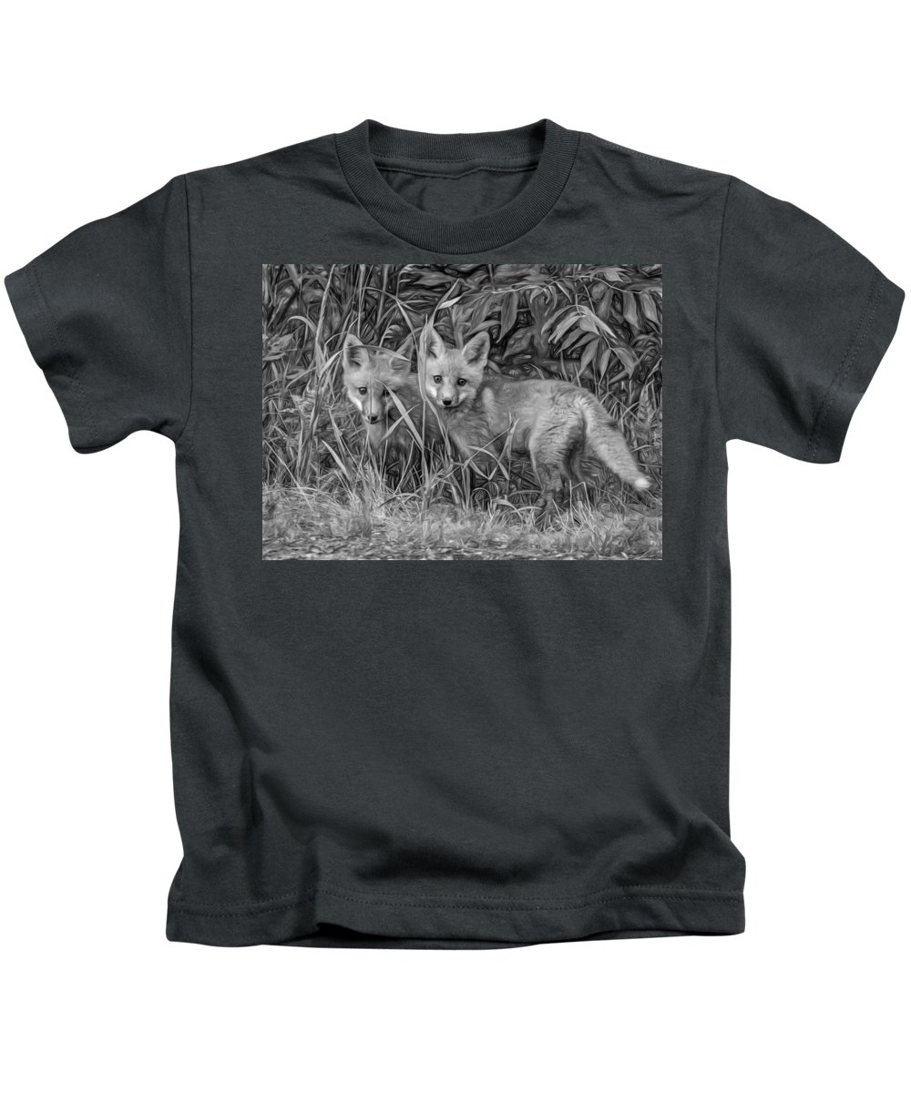 Wildlife Kids T-Shirt featuring the photograph Babes In The Woods 2 - Paint Bw by Steve Harrington