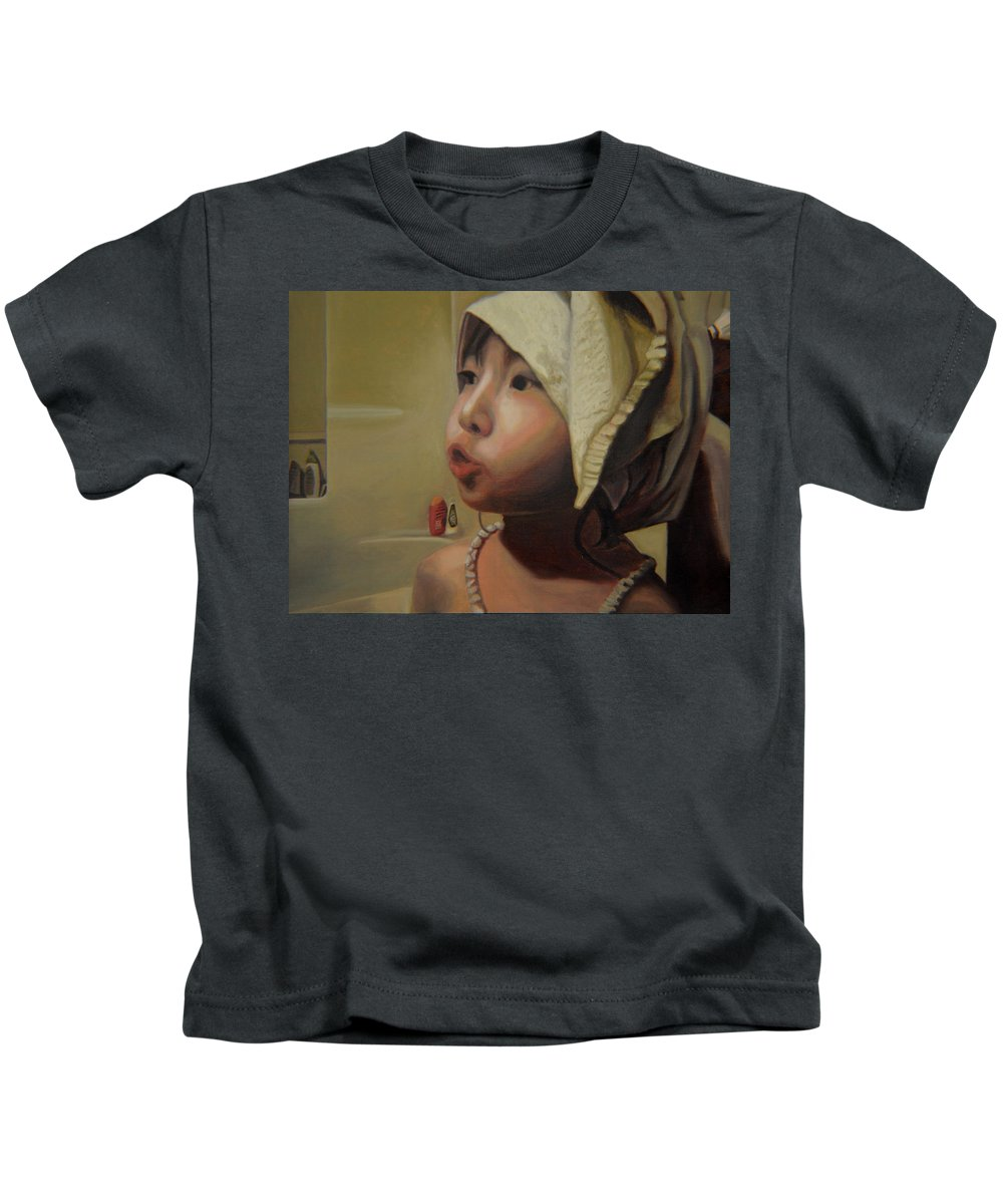 Figure Kids T-Shirt featuring the painting Baby bath mama by Thu Nguyen