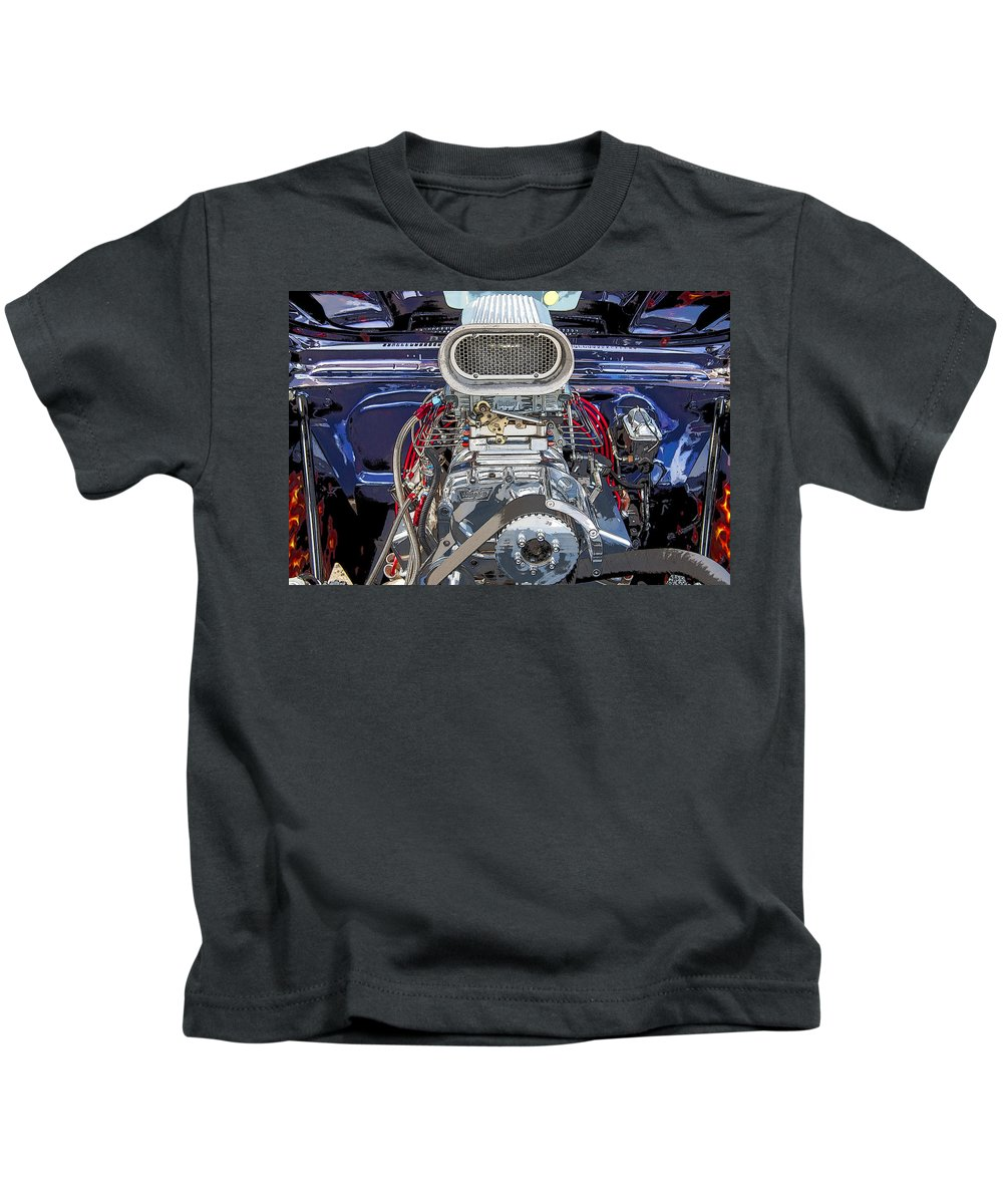 V8 Kids T-Shirt featuring the photograph Bad Boy Blower Motor by Rich Franco