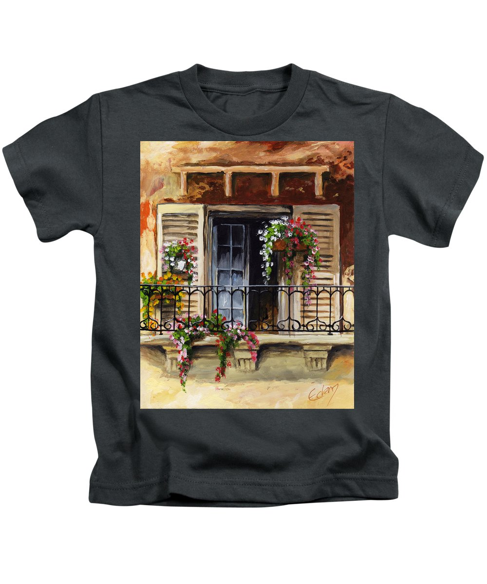 Balcony Kids T-Shirt featuring the painting Balcony Of Ferrara by Voros Edit