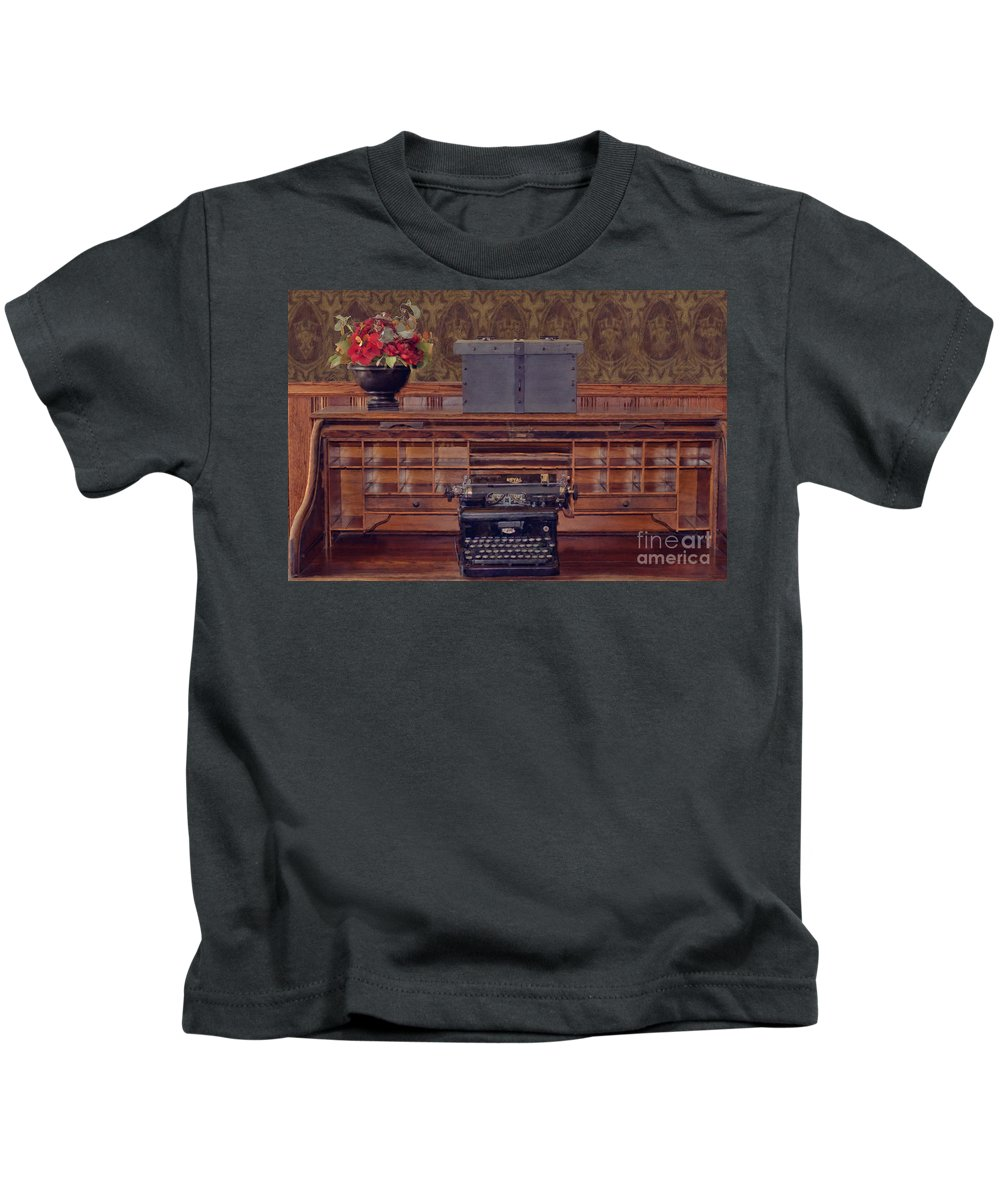 Bank - Secretary Kids T-Shirt featuring the photograph Bank - Secretary by Liane Wright