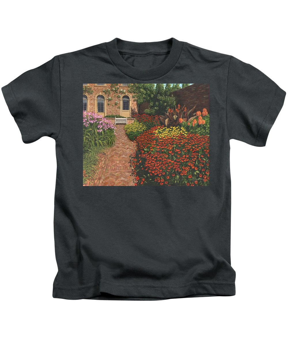 Landscape Kids T-Shirt featuring the painting Barrington Court Gardens Somerset by Richard Harpum