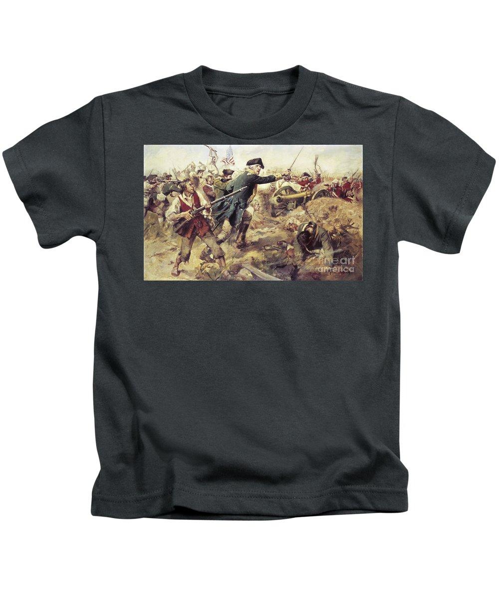 General John Stark Kids T-Shirt featuring the painting Battle Of Bennington by Frederick Coffay Yohn