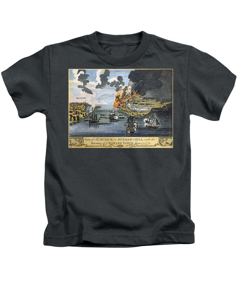 1775 Kids T-Shirt featuring the photograph Battle Of Bunker Hill, 1775 by Granger
