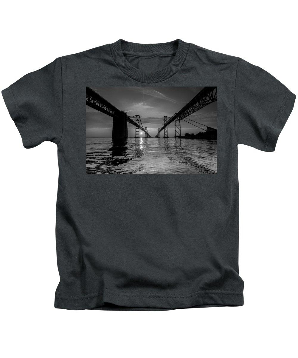 Bay Bridge Kids T-Shirt featuring the photograph Bay Bridge Strength by Jennifer Casey
