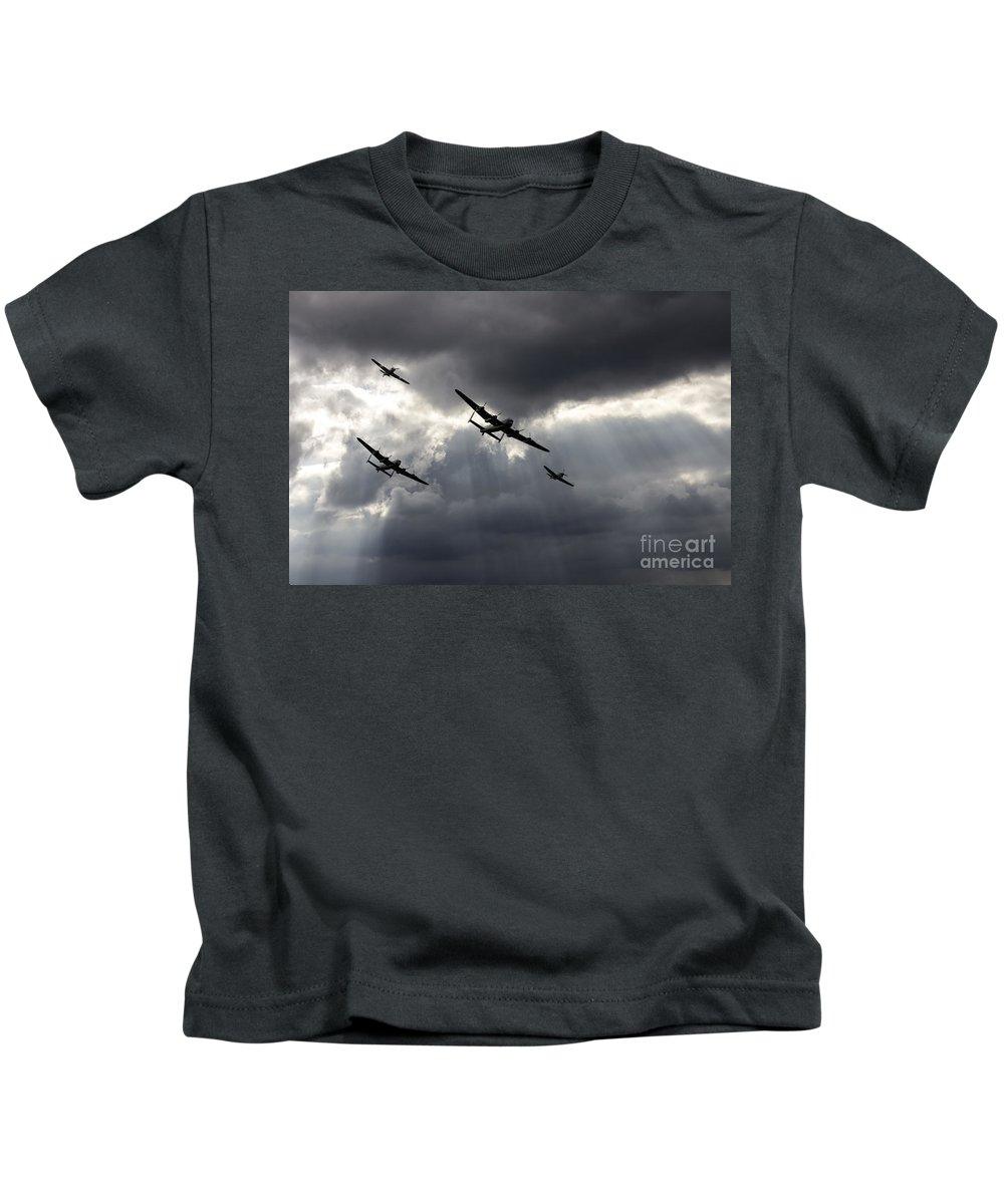 Avro Kids T-Shirt featuring the photograph Bbmf And Vera by J Biggadike
