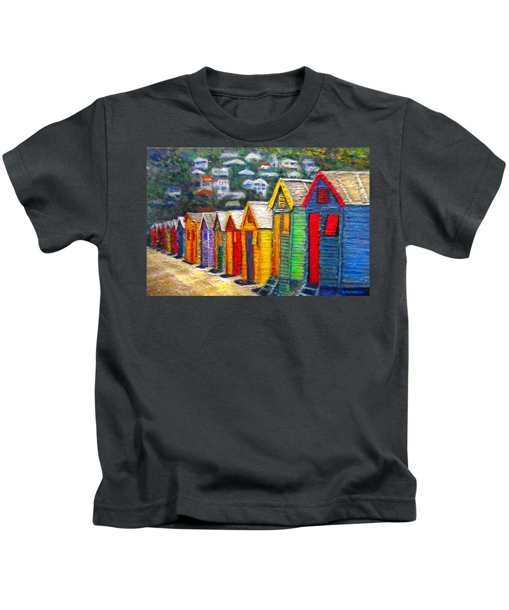 Beach Kids T-Shirt featuring the painting Beach Houses At Fish Hoek by Michael Durst