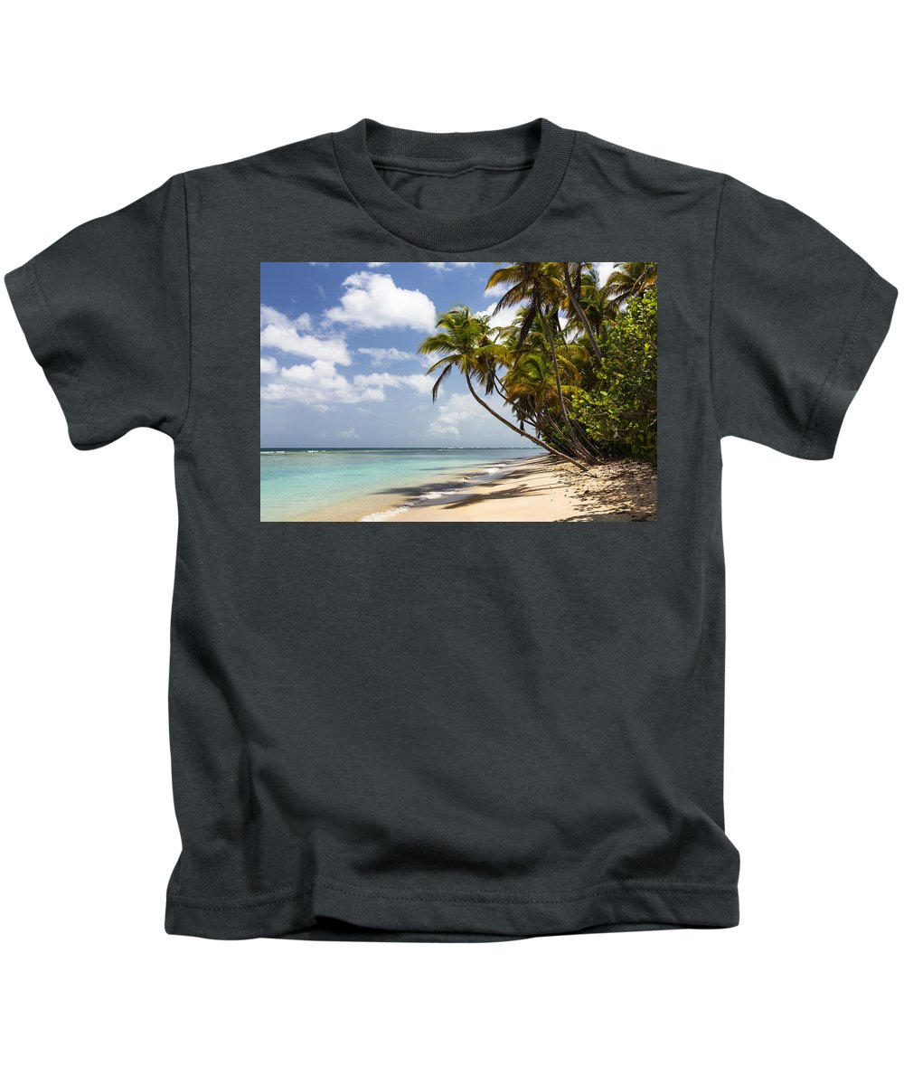 Konrad Wothe Kids T-Shirt featuring the photograph Beach Pigeon Point Tobago West Indies by Konrad Wothe
