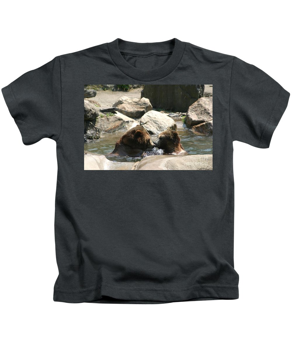 Bears Kids T-Shirt featuring the photograph Bear Smooches by Living Color Photography Lorraine Lynch