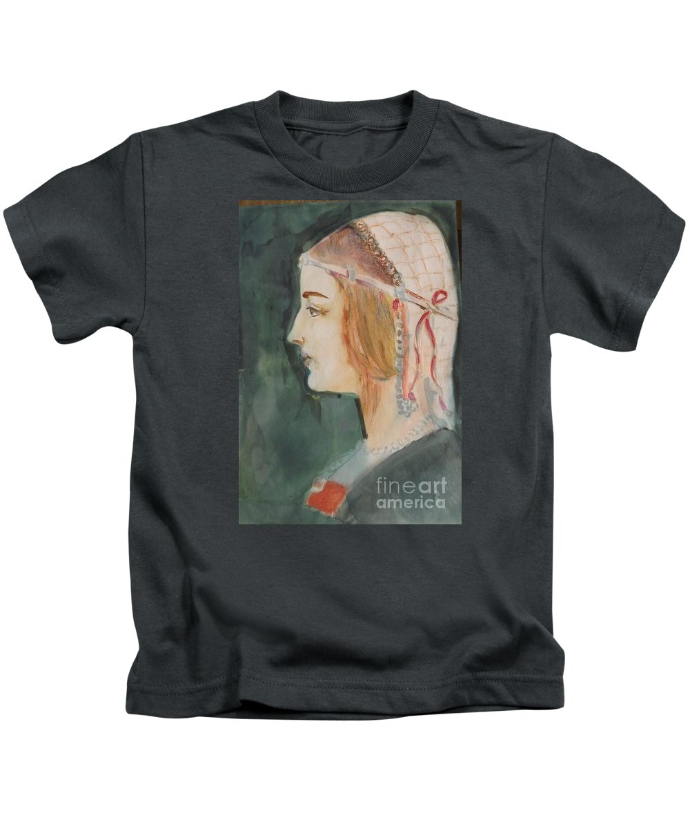 Beatrice D'este Kids T-Shirt featuring the painting Beatrice ... Sketch by Hedwig Pen
