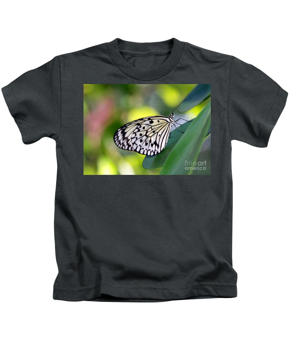 Macro Kids T-Shirt featuring the photograph Beautiful Black N White Rice Paper Butterfly by Sabrina L Ryan