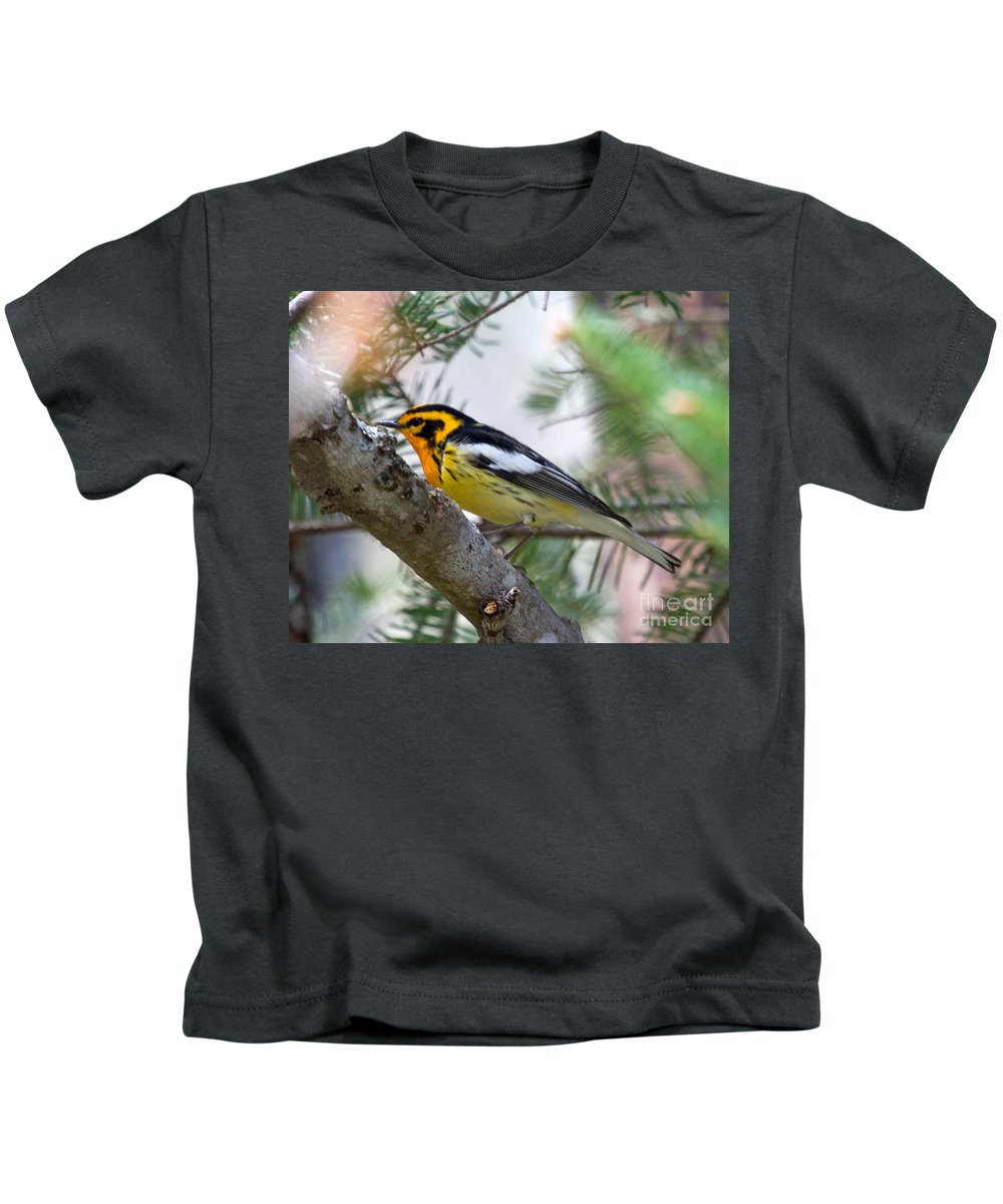 Warbler Kids T-Shirt featuring the photograph Beautiful Blackburnian Warbler by Lloyd Alexander