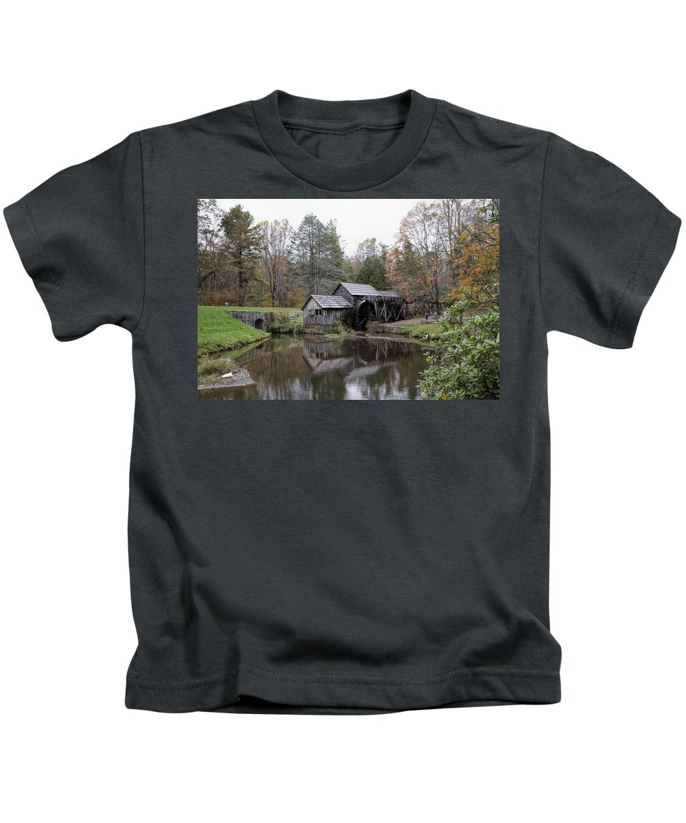 Mabry Mill Kids T-Shirt featuring the photograph Beautiful Historical Mabry Mill by Kathy Clark
