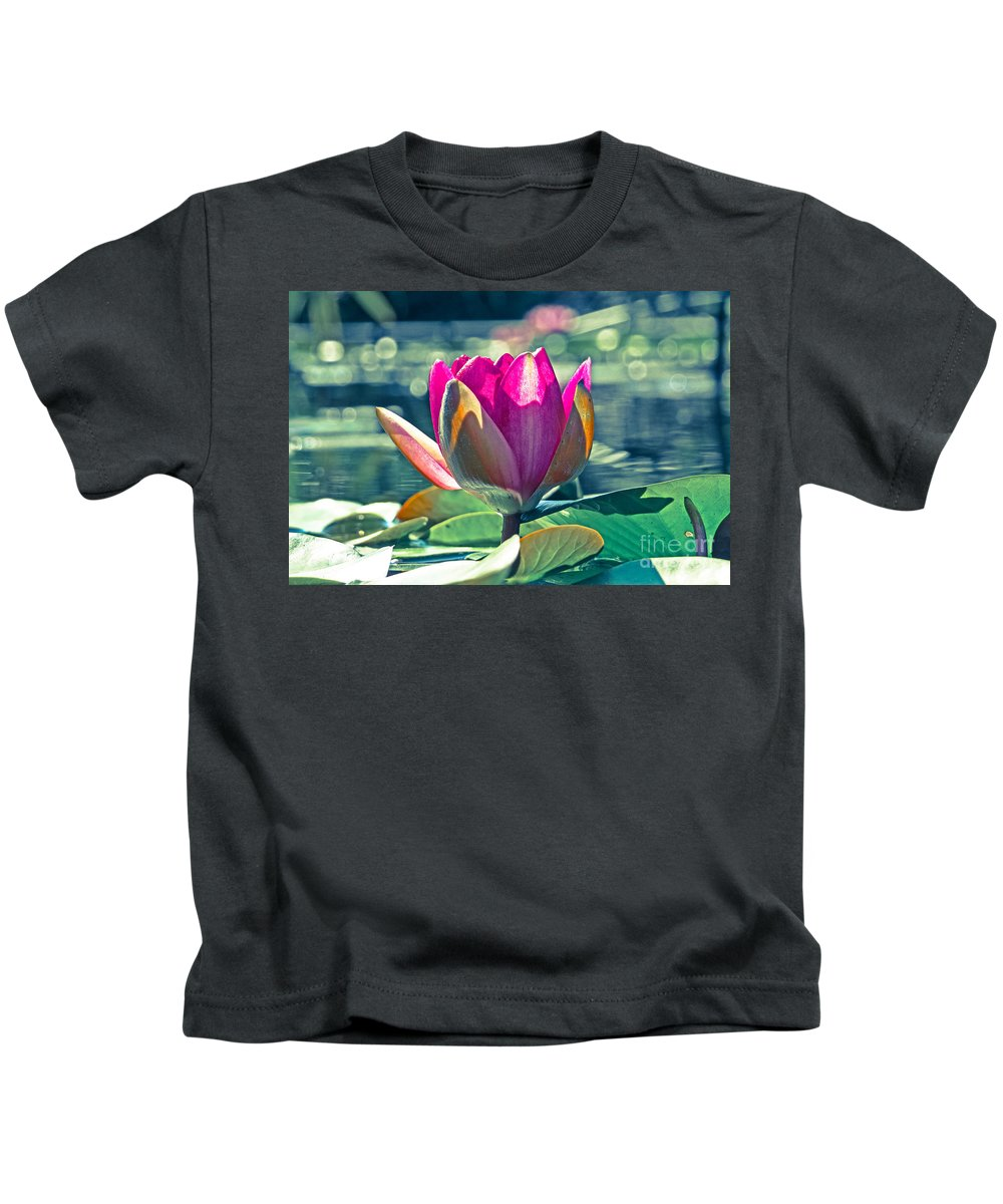 Lake Kids T-Shirt featuring the photograph Beauty On The Water by Dawn Gari