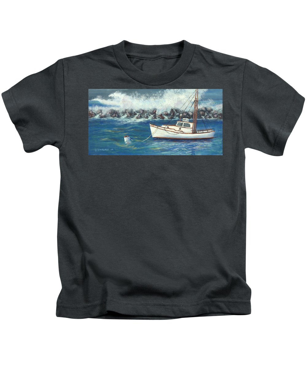 Ocean Kids T-Shirt featuring the painting Behind The Breakwall by Jerry McElroy