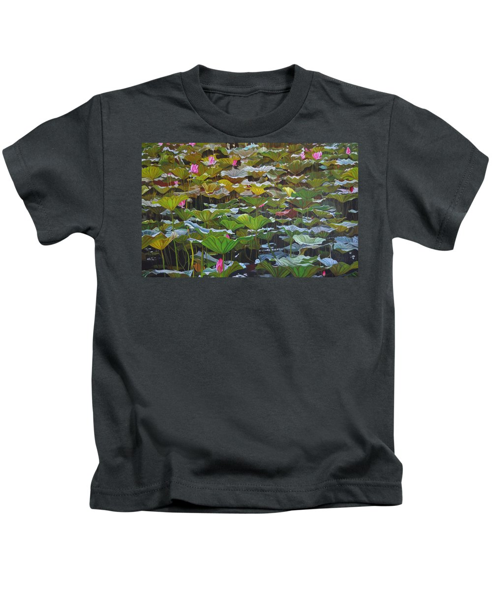Waterlily Kids T-Shirt featuring the painting Beijing In August by Thu Nguyen