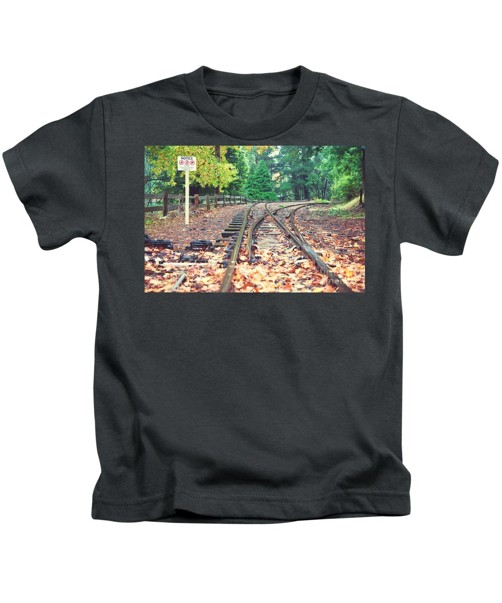 Australia Kids T-Shirt featuring the photograph Belgrave Puffing Billy Railway Track by Yew Kwang