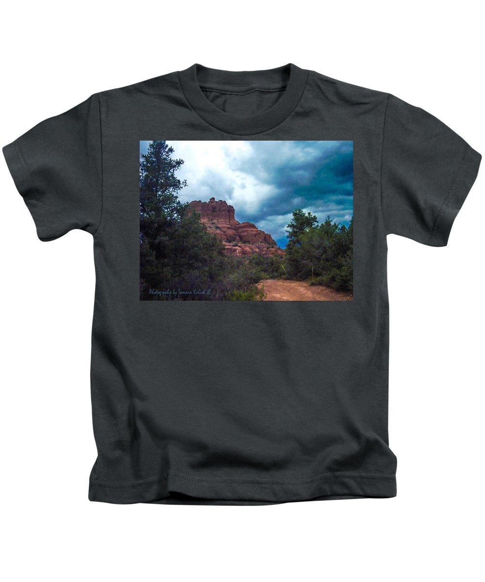 Photo Kids T-Shirt featuring the photograph Bell Rock Drama Sky by Tamara Kulish