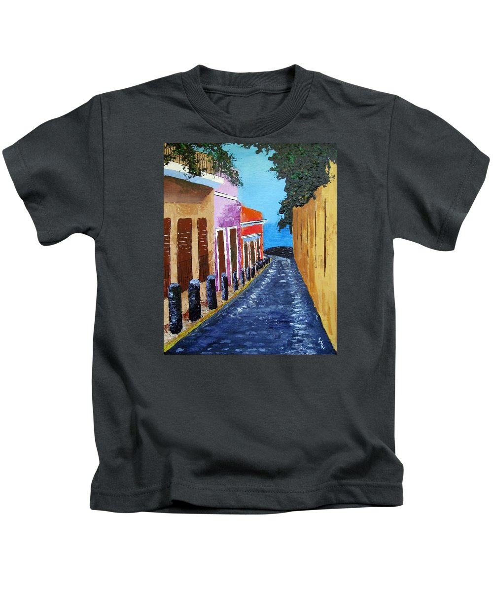 Old San Juan Kids T-Shirt featuring the painting Bello Callejon by Luis F Rodriguez