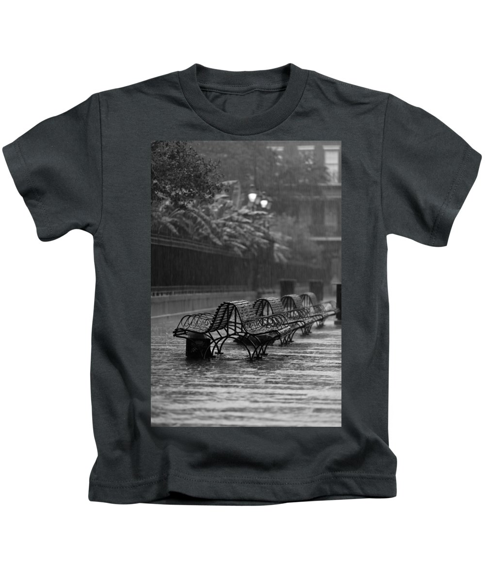 Louisiana Kids T-Shirt featuring the photograph Benches In The Rain Bw by Susie Hoffpauir