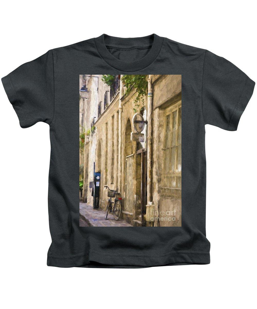 Paris Kids T-Shirt featuring the photograph Bicycle on Paris street by Sheila Smart Fine Art Photography