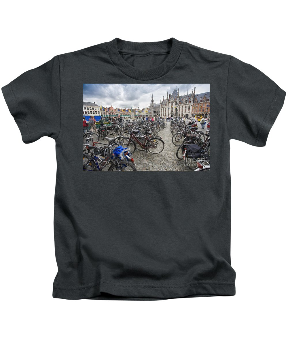 Brugge Kids T-Shirt featuring the photograph Bicycles in Brugge by Sheila Smart Fine Art Photography