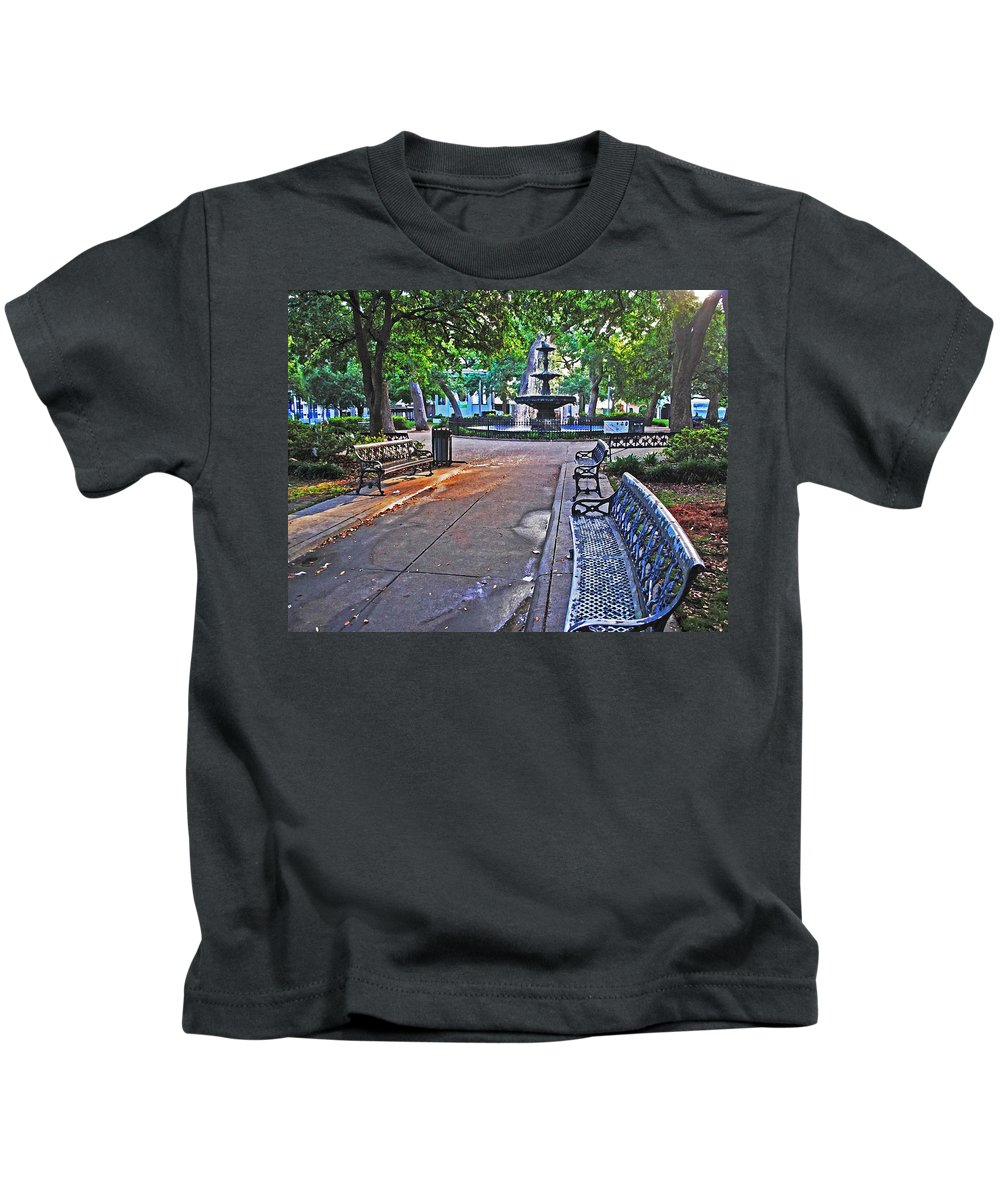 Palm Kids T-Shirt featuring the painting Bienville Square And The Bench 2 by Michael Thomas