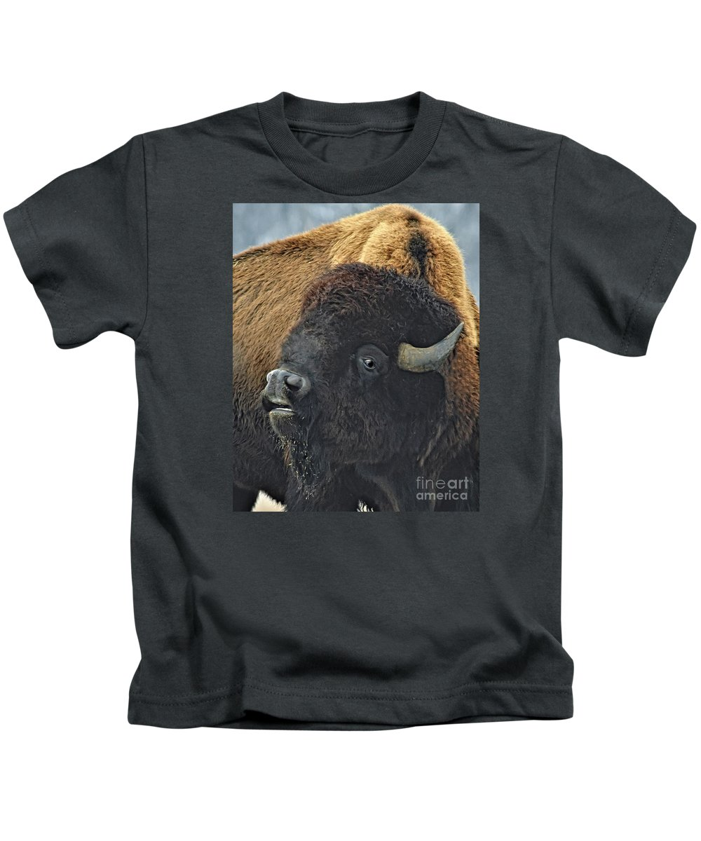 Buffalo Kids T-Shirt featuring the photograph Big Bull Bison by Timothy Flanigan