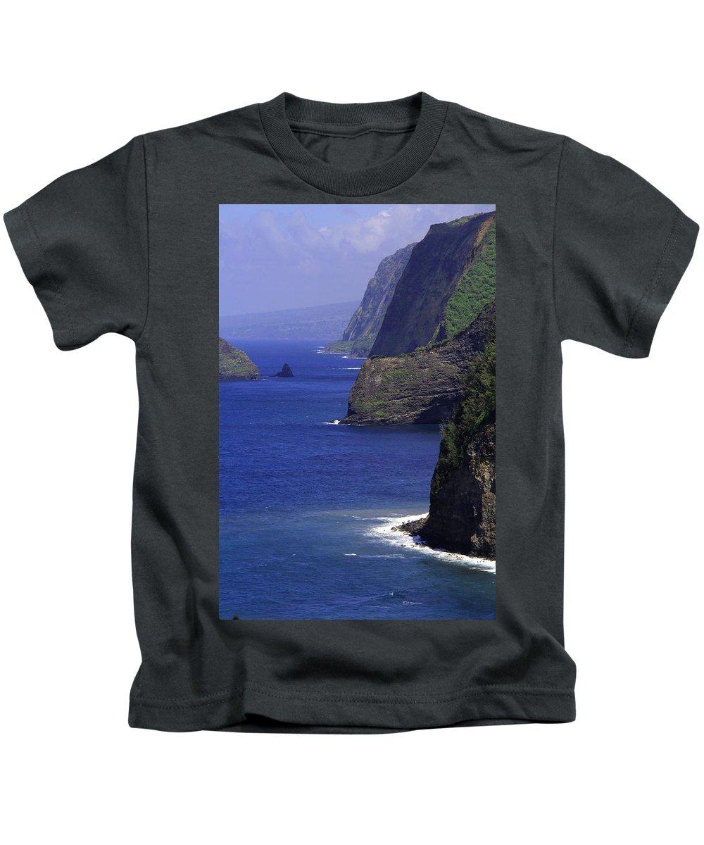 Jennifer Bright Art Kids T-Shirt featuring the photograph Big Island Cliffs by Jennifer Bright