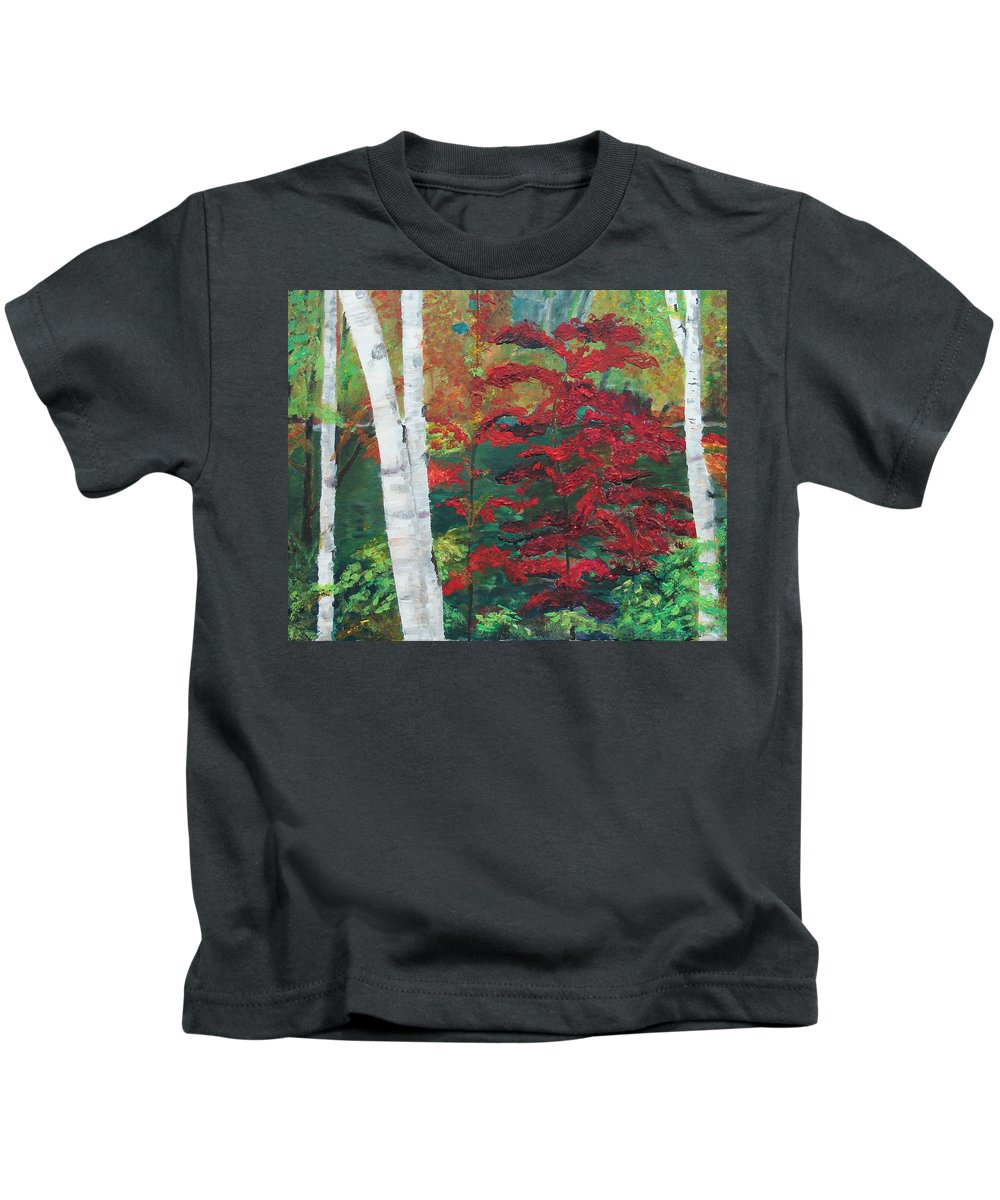 Forest Kids T-Shirt featuring the painting Birch Trees In Red by Frankie Picasso