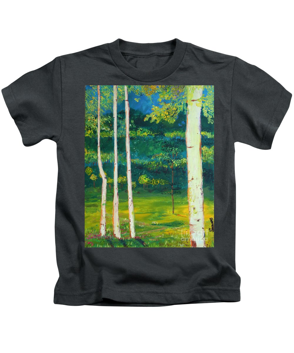 Landscape Kids T-Shirt featuring the painting Birches by Stefan Duncan