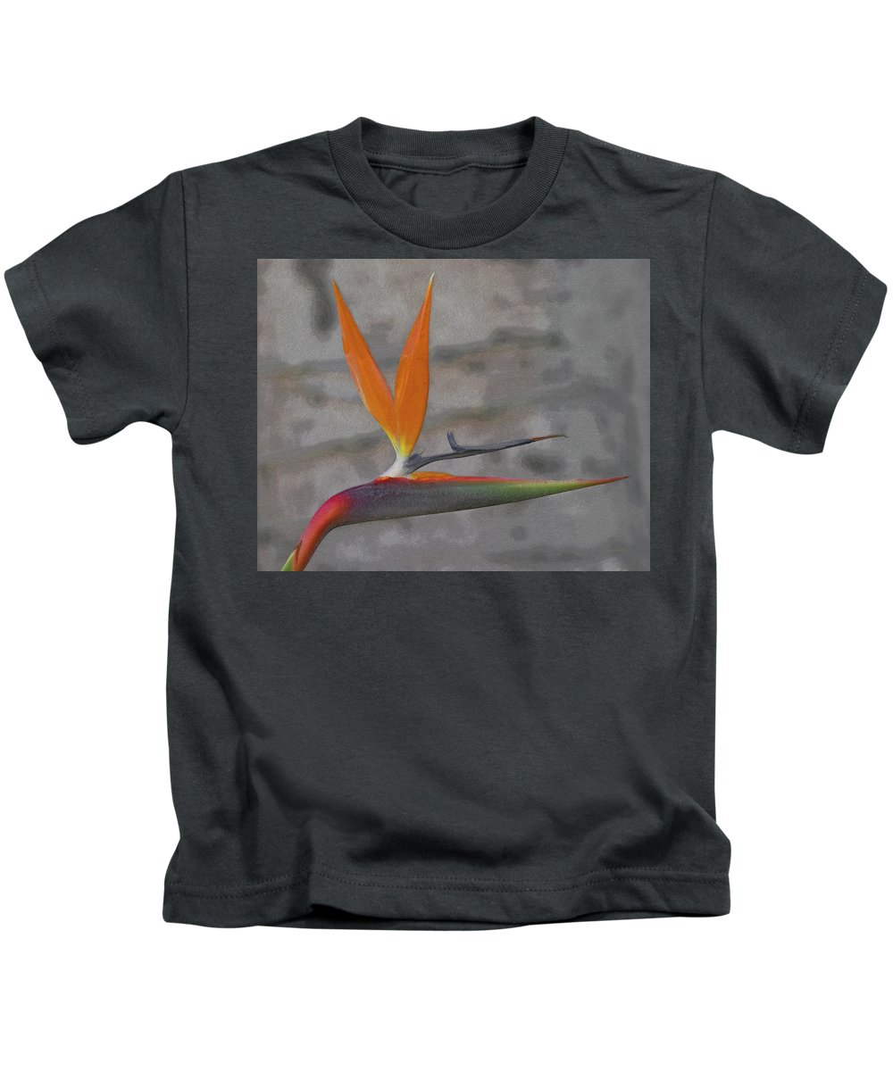 Bird Of Paradise Kids T-Shirt featuring the digital art Bird Of Paradise by Ernie Echols