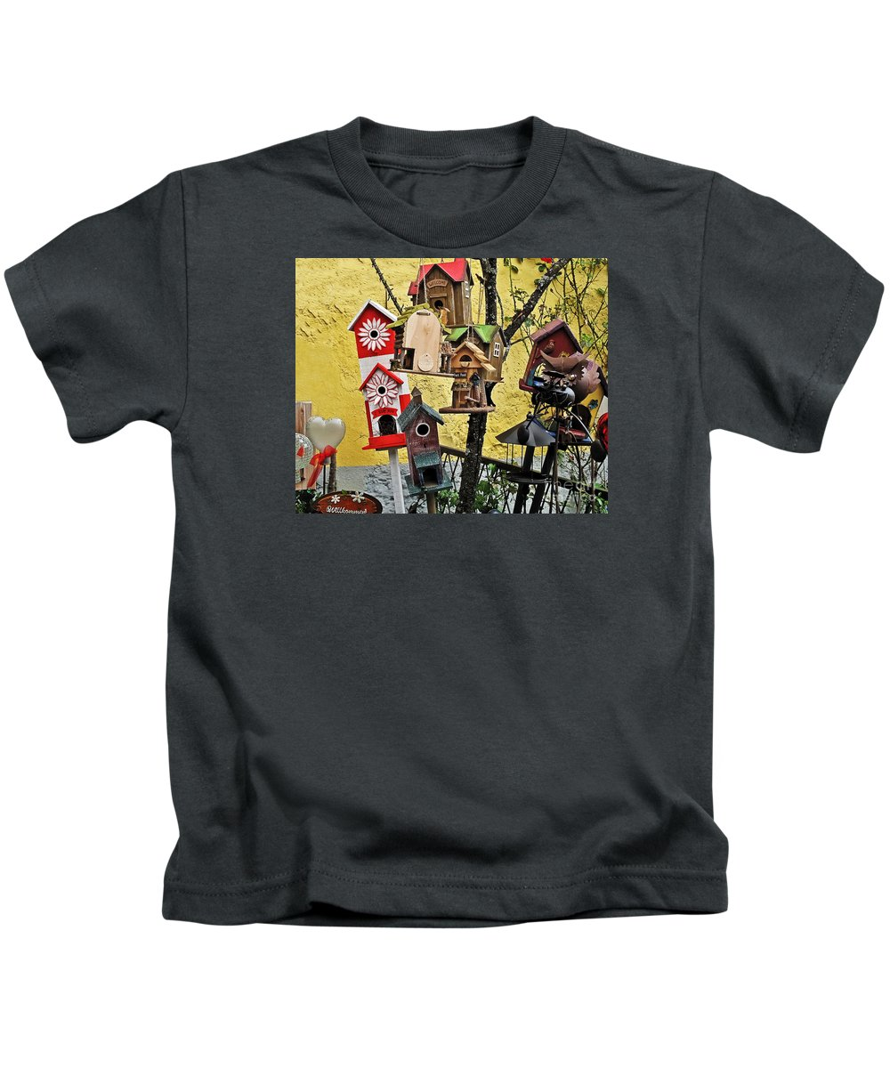 Travel Kids T-Shirt featuring the photograph Birdhouse Subdivision by Elvis Vaughn
