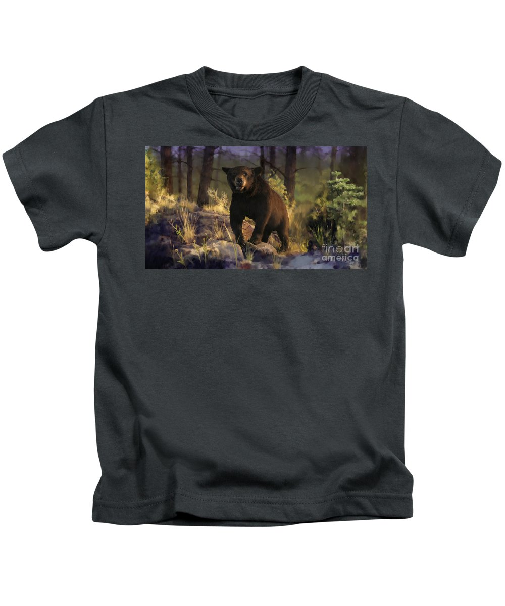 Bear Kids T-Shirt featuring the painting Black Max by Rob Corsetti