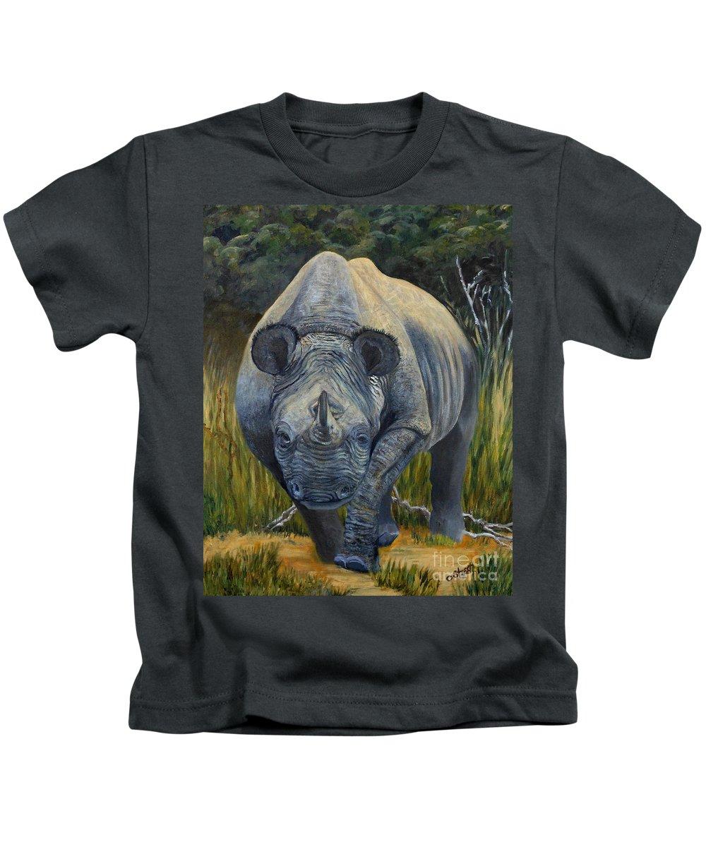 Rhino Kids T-Shirt featuring the painting Black Rhino by Caroline Street