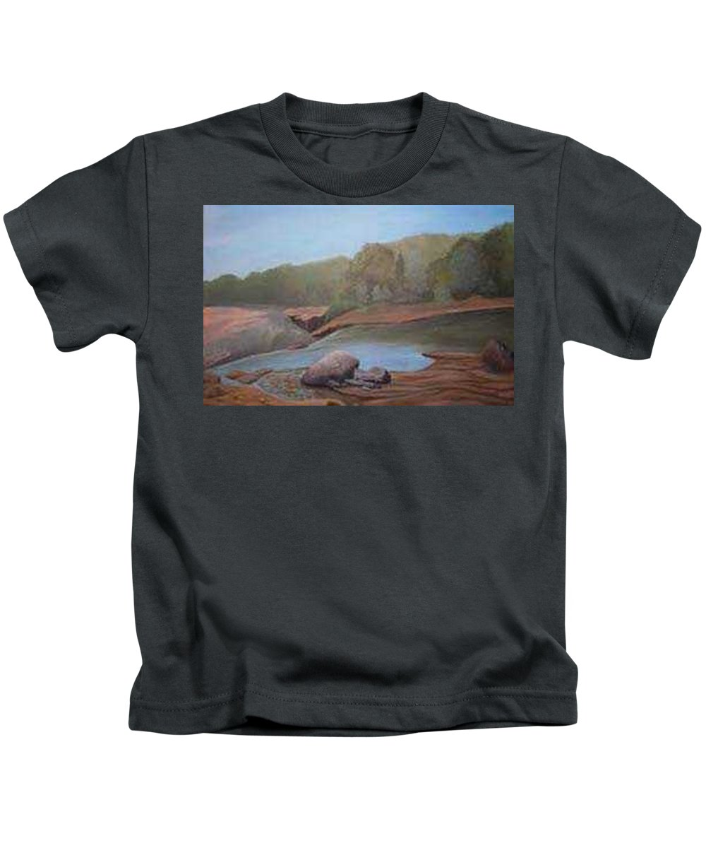 Rick Huotari Kids T-Shirt featuring the painting Black River Falls by Rick Huotari