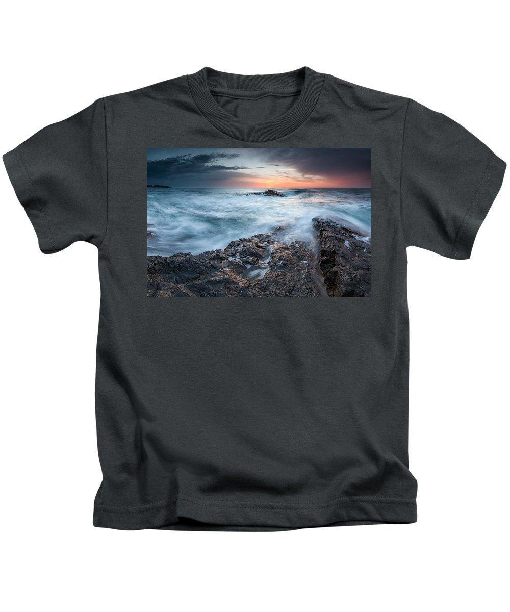 Black Sea Kids T-Shirt featuring the photograph Black Sea Rocks by Evgeni Dinev