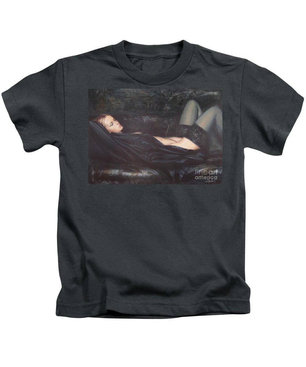 Ignatenko Kids T-Shirt featuring the painting Black Silk by Sergey Ignatenko