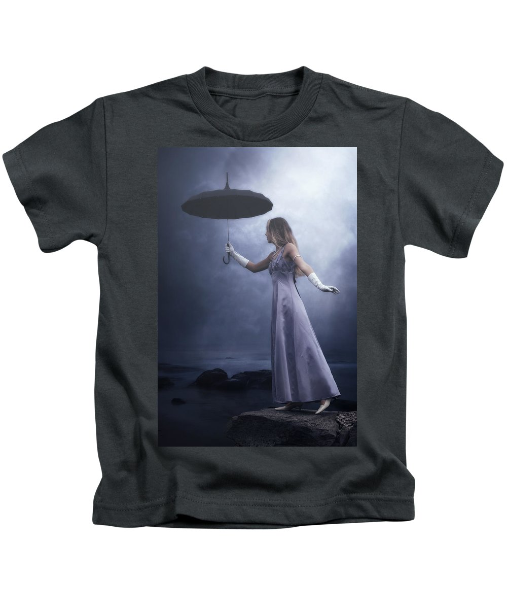 Girl Kids T-Shirt featuring the photograph Black Umbrella by Joana Kruse