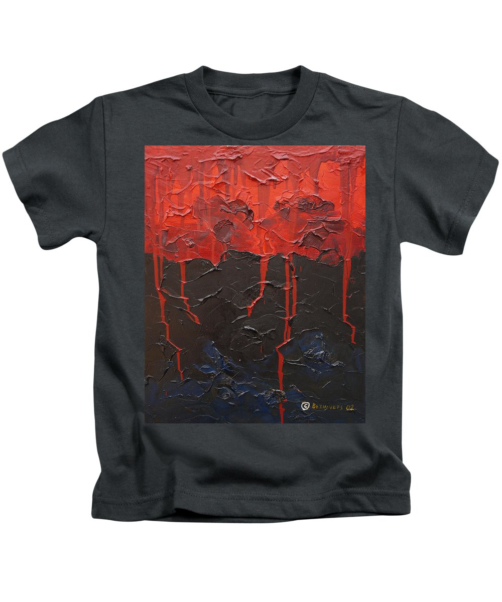 Fantasy Kids T-Shirt featuring the painting Bleeding Sky by Sergey Bezhinets