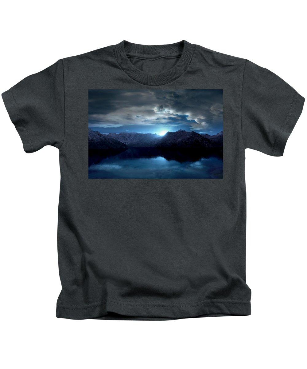 Eis Kids T-Shirt featuring the mixed media Blue Morning by Steffen Gierok